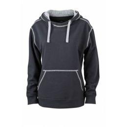 JN Ladie´s Lifestyle Zip-Hoody Schwarz - Hellgrau, Grösse XL