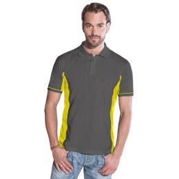 Promodoro Men´s Function Contrast Polo graphit - neongelb, Gr. 3XL