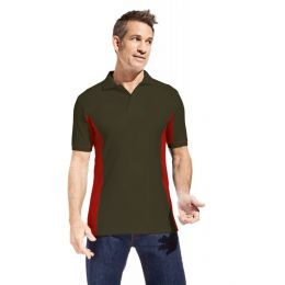 Promodoro Men´s Function Contrast Polo hunling green - rot, Gr. L