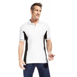 Promodoro Men´s Function Contrast Polo weiss-schwarz, Gr. 3XL