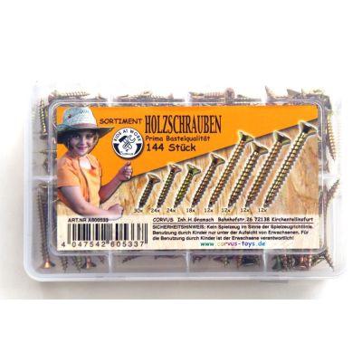 KIDS AT WORK Box Holzschrauben gelb, sortiert, 144 Stück | 050-A600533 / EAN:4047542605337