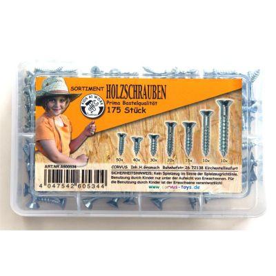 KIDS AT WORK Box Holzschrauben weiß, sortiert, 175 Stück | 050-A600534 / EAN:4047542605344