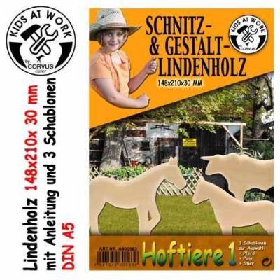 KIDS AT WORK Schnitzholz Hoftiere 1, groß   050-A600583 / EAN:4047542605832