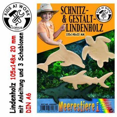 KIDS AT WORK Schnitzholz Meerestiere 1, klein | 050-A600587 / EAN:4047542605870