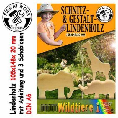 KIDS AT WORK Schnitzholz Wildtiere 1, klein | 050-A600585 / EAN:4047542605856