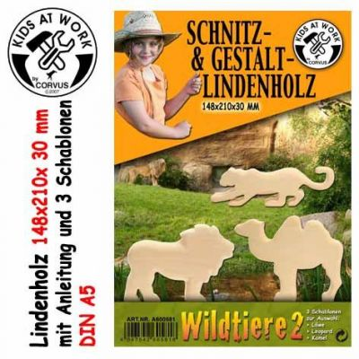 KIDS AT WORK Schnitzholz Wildtiere 2, groß | 050-A600581 / EAN:4047542605818
