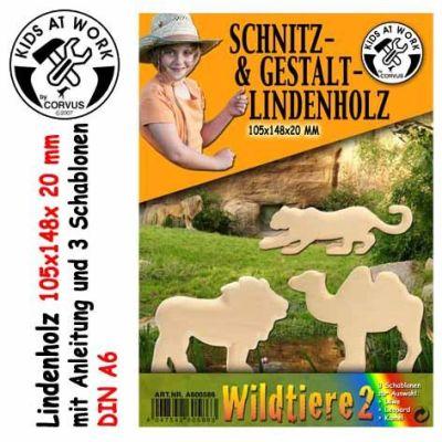 KIDS AT WORK Schnitzholz Wildtiere 2, klein   050-A600586 / EAN:4047542605863