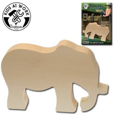 KIDS AT WORK Schnitzholzrohling Elefant 30mm   050-A600702 / EAN:4047542607027