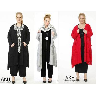 AKH Fashion Strickmantel Lagenlook für Übergrößen   777