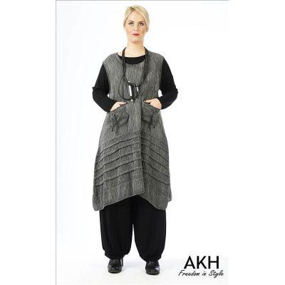 Lagenlook Kleid gecrasht - reduziert | 150136grau