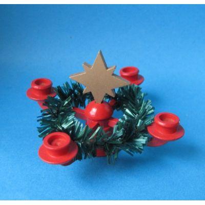 Adventskranz Leuchter mit Stern Puppenhaus Miniatur 1:12 Erzgebirge | U189-021 / EAN:4250890406987