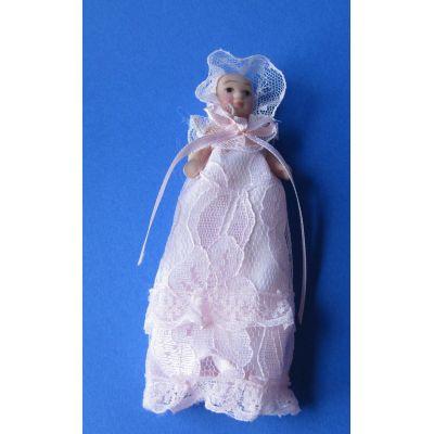 Baby in rosa Taufkleid Puppe für Puppenhaus Miniaturen 1:12 | Sa-DP050 / EAN:5035189657122