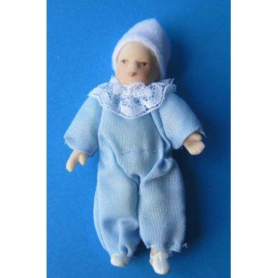 Baby Junge hellblau Puppe für die Puppenstube Miniatur 1:12 | c2632 / EAN:3597832632006