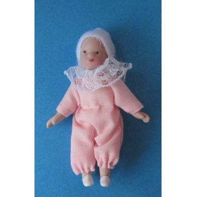 Baby Mädchen rosa Puppe für die Puppenstube Miniatur 1:12 | c2666r / EAN:3597832666001