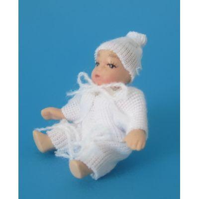 Baby mit Mütze Puppe für die Puppenstube Miniatur 1:12   c2668 / EAN:3597832668005