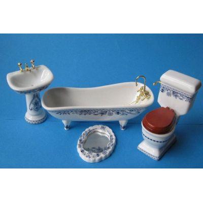 Badezimmer Blau Porzellan Ausstattung 4 Teile Puppenmöbel 1:12 | c2795 / EAN:3597832795008