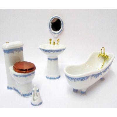 Badezimmer blaue Ranken Porzellan 5 Teile Puppenhausmöbel 1:12   VM29803 / EAN:keine