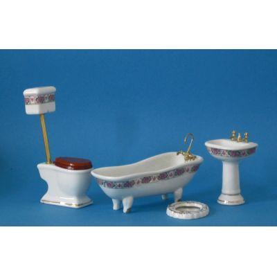 Badezimmer Rosendekor Ausstattung 4 Teile Puppenmöbel 1:12 | c2792 / EAN:3597832792007