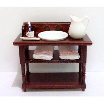 Badezimmer Waschtisch braun mit Handtücher Krug Schüssel Puppenhaus Möbel Miniatur 1:12 | V23315 / EAN:keine