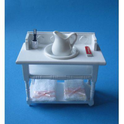 Badezimmer Waschtisch weiss mit Handtücher Krug Schüssel Puppenhaus Möbel Miniatur 1:12 | V23901