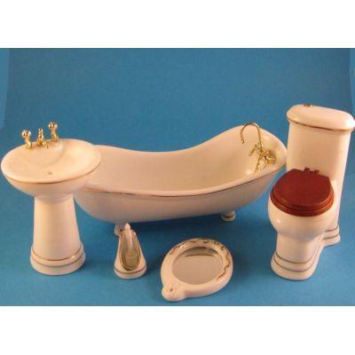 Badezimmer weiss Porzellan Ausstattung 5 Teile Puppenmöbel 1:12 | c2793 / EAN:3597832793004