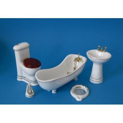 Badezimmer weiss Porzellan Ausstattung 5 Teile Puppenmöbel 1:12   c2793 / EAN:3597832793004
