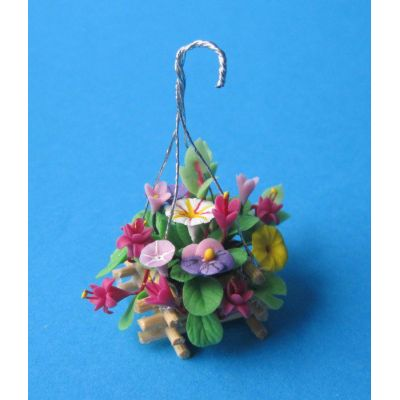 Blumenampel Gesteck im Korb Puppenhaus Dekoration Miniatur 1:12 | c70471 / EAN:3597837047102