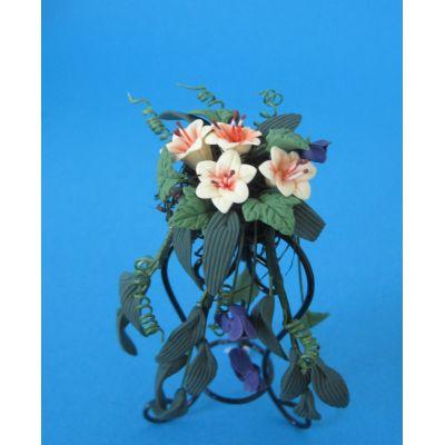 Blumenkorb Gesteck gelbe Lilien Puppenhaus Miniatur 1:12 | c75985 / EAN:3597837598505