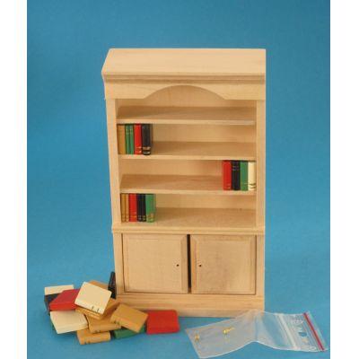 Bücherschrank Naturholz Puppenhaus Möbel Miniaturen 1:12   c27449 / EAN:3597832744907
