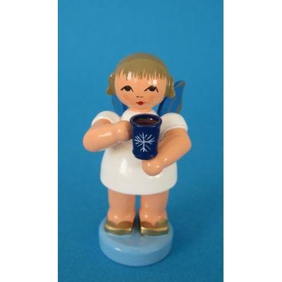 Engel stehend Glühweintasse blaue Flügel Sonderkollektion Seiffen | 225-270-30B / EAN:4250890414975