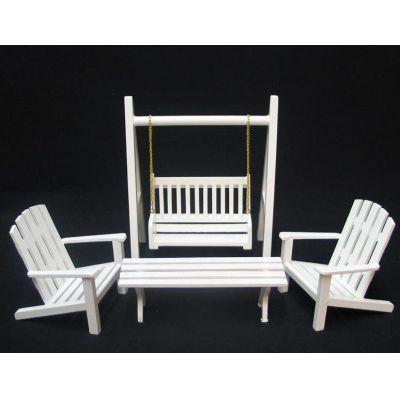 gartenm bel set 4 teile schaukel stuhl bank puppenhaus m bel miniatur 1 12 blumen miniaturen. Black Bedroom Furniture Sets. Home Design Ideas
