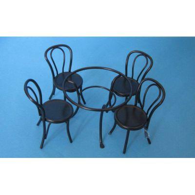 gartenm bel set tisch und 4 st hle metall schwarz puppenhausm bel miniatur 1 12 wohnzimmer. Black Bedroom Furniture Sets. Home Design Ideas