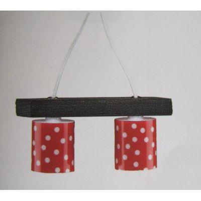 Hängelampe rot mit Punkten Puppenhausmöbel Miniatur 1:12   K10583 / EAN:4026179105830