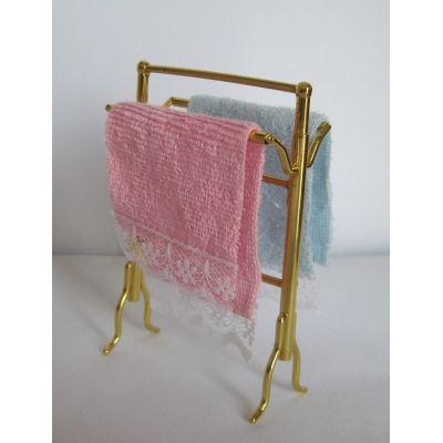 Handtuchhalter und zwei Handtücher Badezimmer Puppenhausmöbel Miniatur 1:12 | VM70987 / EAN:5714854016999