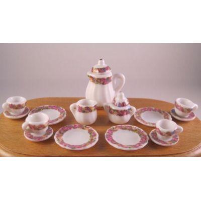 Kaffeeservice Porzellan Rosendekor 17tlg.Puppenhaus Miniatur 1:12   c74963 / EAN:3597837496306