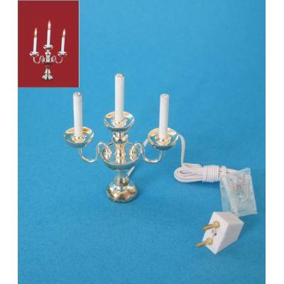 Kerzenleuchter 3-armig silberfarben elektrisch 12V Puppenhaus Deko Miniatur 1:12 | c24929 / EAN:3597832492907