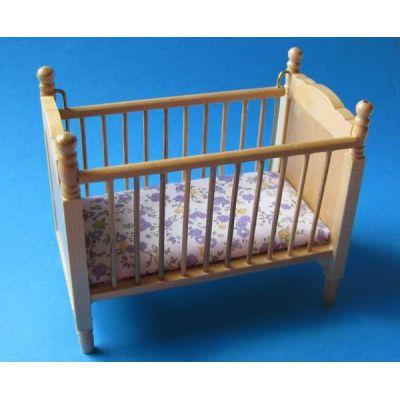 Kinderbett Eiche hell mit Matratze Puppenhausmöbel 1:12 Miniatur   c27170 / EAN:3597832717000