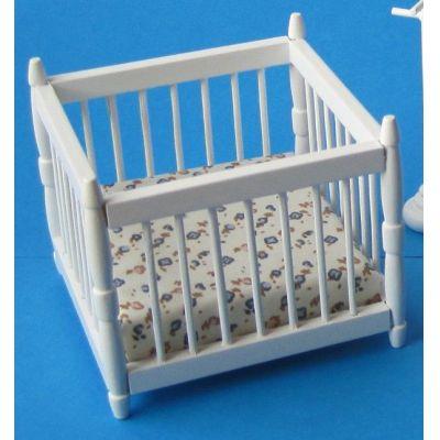 laufgitter weiss inkl matratze puppenhausm bel miniatur 1 12 von creal. Black Bedroom Furniture Sets. Home Design Ideas
