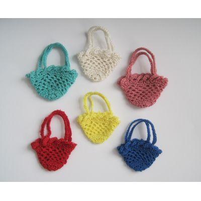 Mini Einkaufsnetz Tasche mit Bogenrand gehäkelt Puppenhaus Miniatur Handarbeit | PW300-1