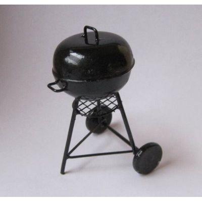 Rundgrill Barbeque Grill schwarz Metall Puppenhaus Miniatur 1:12   c30848 / EAN:35978330848404