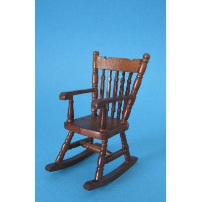 Schaukelstuhl braun Puppenhaus Möbel für die Puppenstube 1:12   c30353 / EAN:3597833035301