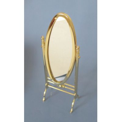 Standspiegel oval goldfarben Puppenhaus Miniaturen 1:12   c330061 / EAN:3597833300614