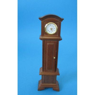 Standuhr mit Pendel und Funktion Holz braun Puppenmöbel Miniaturen1:12 | C27983 / EAN:3597832798306