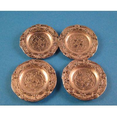Teller 4 Stück silberfarben für Puppenhaus Miniatur 1:12   c72573 / EAN:3597837257303