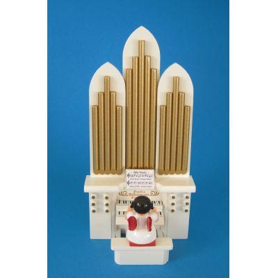Weihnachtsengel an der Orgel rote Flügel Seiffen | 225-043-13R / EAN:keine