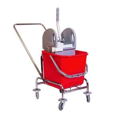 Aura Single Fahrwagen, verchromt mit Deichsel und Presse sowie 1 20 Liter Eimer   114-ASE3125 / EAN:0736846046413