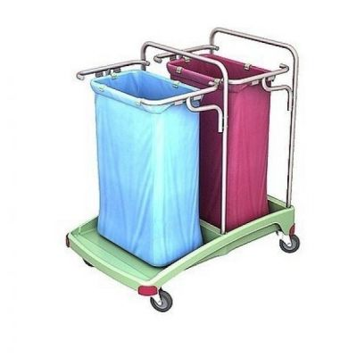 CleanSV® antibakterieller Abfallwagen aus Kunststoff 2 x 120 liter - rot, blau, grün | 116-TSOA-0005 / EAN:0738613496865