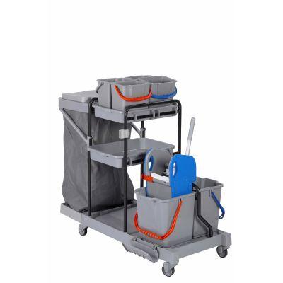 CleanSV® BAY Deluxe Profi PE Reinigungswagen Kunststoff voll ausgestattet mit 6 Eimern, Presse, Ablagen, Müll | 00-000050.1 / EAN:4251228303091