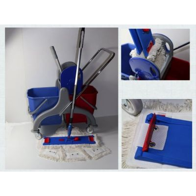 CleanSV® Lamo Laschenwischset 40 Kunststoff- Putzwagen, Laschenmop Set 40 cm: 3 Lamops, 1 Lamo Halter, Telskop | 00-000037.9 / EAN:0738613495615