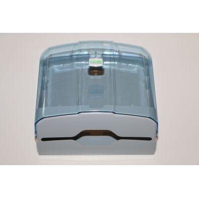 CleanSV® Via Hellblau/Transparent Papierhandtuchspender aus Kunststoff 27 cm x 27 cm x 13 cm   14-000K4T-blue / EAN:4251228302735